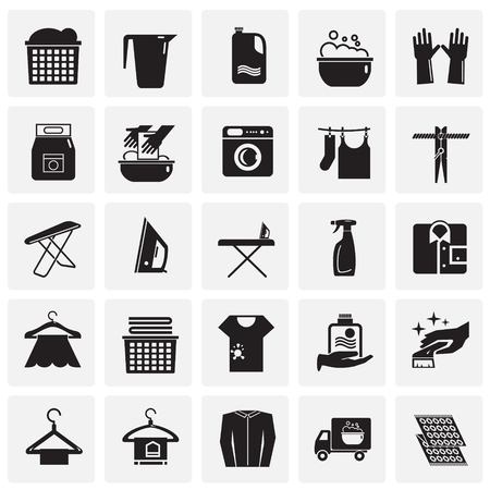 Laundry icons set on squares background for graphic and web design, Modern simple vector sign. Internet concept. Trendy symbol for website design web button or mobile app