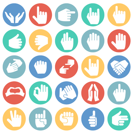 Gestures icon set on color circles background for graphic and web design, Modern simple vector sign. Internet concept. Trendy symbol for website design web button or mobile app