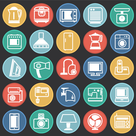 Home appliance icons set on color circles black background for graphic and web design, Modern simple vector sign. Internet concept. Trendy symbol for website design web button or mobile app