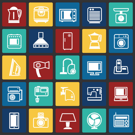 Home appliance icons set on color squares background for graphic and web design, Modern simple vector sign. Internet concept. Trendy symbol for website design web button or mobile app Vecteurs