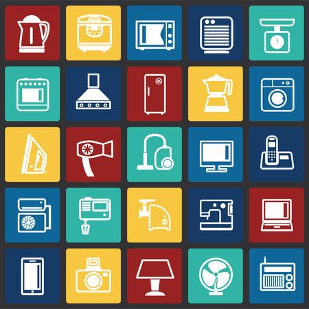 Iconos de electrodomésticos en cuadrados de color de fondo para diseño gráfico y web sencillo, moderno, signo de vectores. Concepto de internet. Símbolo de moda para el botón web de diseño de sitios web o aplicaciones móviles Ilustración de vector