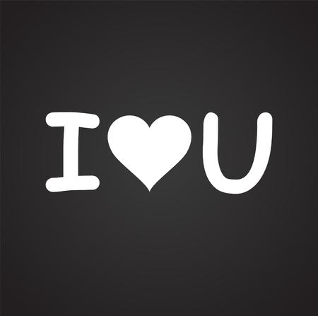 I love you icon on black background for graphic and web design, Modern simple vector sign. Internet concept. Trendy symbol for website design web button or mobile app Vektorové ilustrace