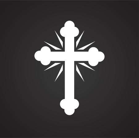 Easter cross icon on black background for graphic and web design, Modern simple vector sign. Internet concept. Trendy symbol for website design web button or mobile app