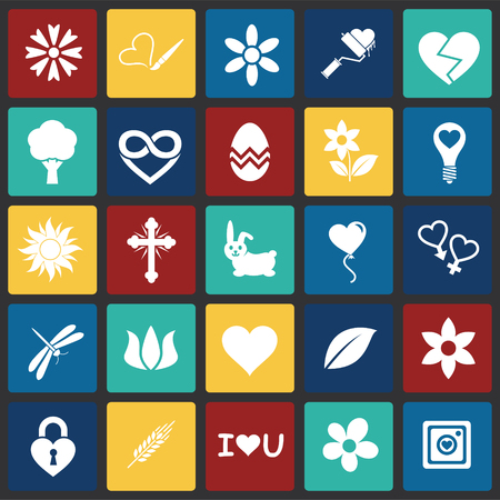 Spring icons set on color squares background for graphic and web design, Modern simple vector sign. Internet concept. Trendy symbol for website design web button or mobile app