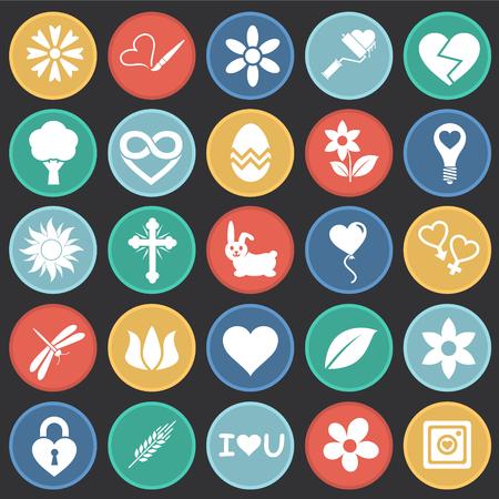 Iconos de primavera en círculos de color de fondo negro para diseño gráfico y web sencillo, moderno, signo de vectores. Concepto de internet. Símbolo de moda para el botón web de diseño de sitios web o aplicaciones móviles