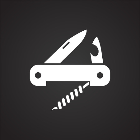 Camping knife icon on black background for graphic and web design, Modern simple vector sign. Internet concept. Trendy symbol for website design web button or mobile app Stock fotó