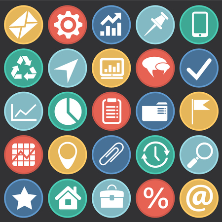 Business simple icons set on color circles black background for graphic and web design, Modern simple vector sign. Internet concept. Trendy symbol for website design web button or mobile app