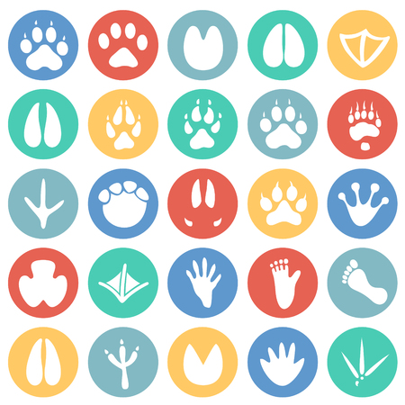 Animal foot prints icons set on color circles background for graphic and web design, Modern simple vector sign. Internet concept. Trendy symbol for website design web button or mobile app