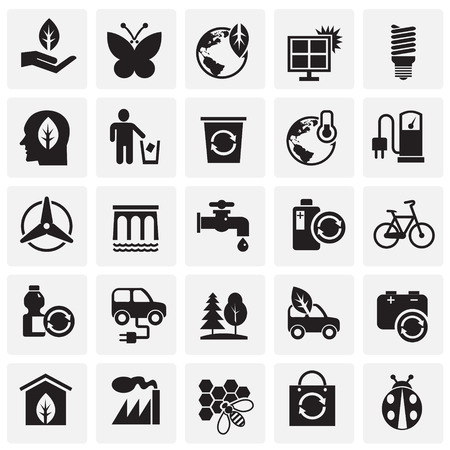 Ecology icons on squares background for graphic and web design, Modern simple vector sign. Internet concept. Trendy symbol for website design web button or mobile app