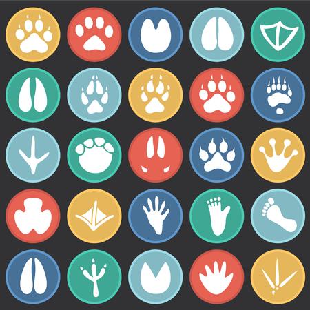 Il piede degli animali stampe set di icone su cerchi di colore sfondo nero per grafica e web design, moderno vettore semplice segno. Concetto di Internet. Simbolo alla moda per il pulsante web di progettazione di siti Web o l'app mobile