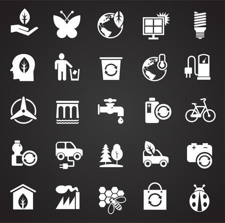 Ecology icons on white background for graphic and web design, Modern simple vector sign. Internet concept. Trendy symbol for website design web button or mobile app