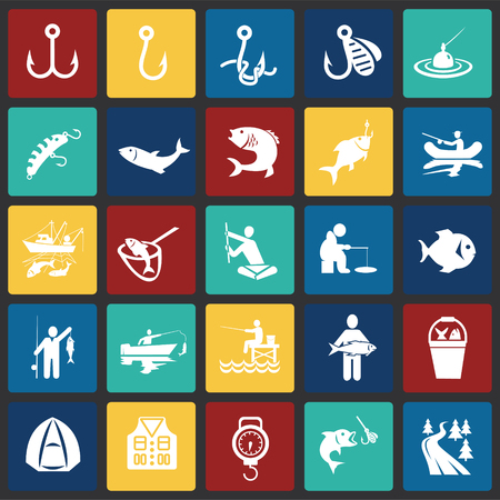 Fishing icon set on color squares background for graphic and web design, Modern simple vector sign. Internet concept. Trendy symbol for website design web button or mobile app