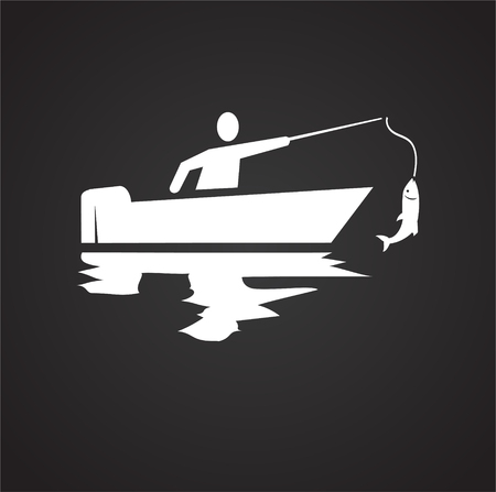 Fisherman icon on black background for graphic and web design, Modern simple vector sign. Internet concept. Trendy symbol for website design web button or mobile app