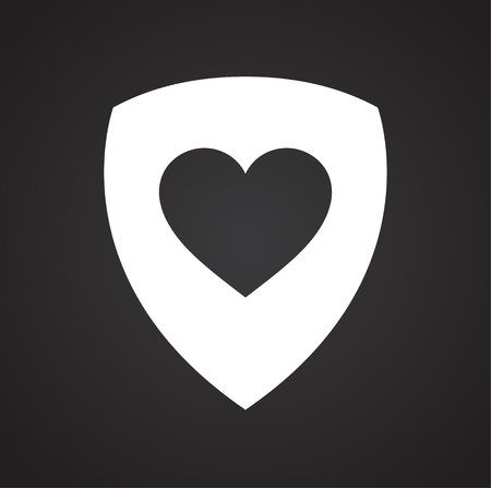 Heart on shield icon on black background for graphic and web design, Modern simple vector sign. Internet concept. Trendy symbol for website design web button or mobile app Illustration