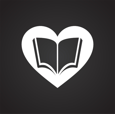 Heart with book icon on black background for graphic and web design, Modern simple vector sign. Internet concept. Trendy symbol for website design web button or mobile app