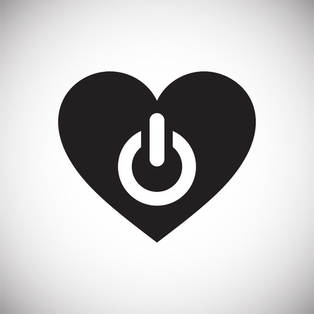 Heart power button icon on white background for graphic and web design, Modern simple vector sign. Internet concept. Trendy symbol for website design web button or mobile app