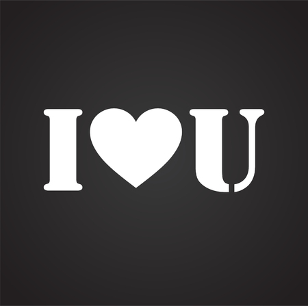 I love you icon on black background for graphic and web design, Modern simple vector sign. Internet concept. Trendy symbol for website design web button or mobile app