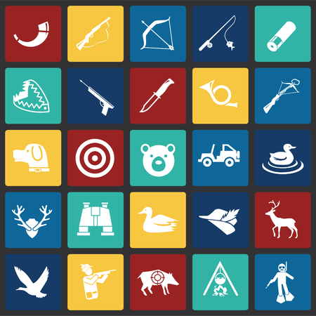 Hunting icon set on color squares background for graphic and web design, Modern simple vector sign. Internet concept. Trendy symbol for website design web button or mobile app