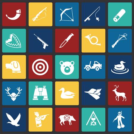 Jagdsymbol auf farbigem Quadrathintergrund für Grafik- und Webdesign, modernes einfaches Vektorzeichen. Internet-Konzept. Trendiges Symbol für Website-Design-Web-Button oder mobile App