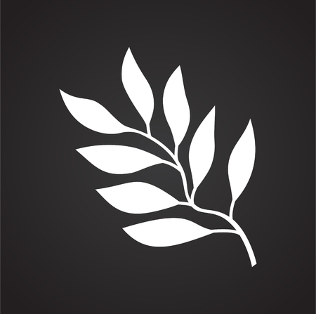 Tropic leaf on black background for graphic and web design, Modern simple vector sign. Internet concept. Trendy symbol for website design web button or mobile app
