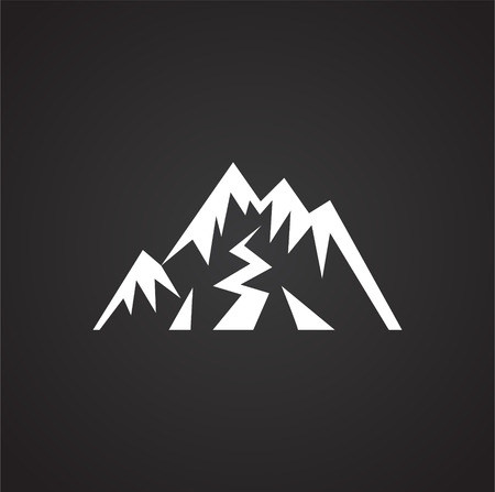 Mountain icon on black background for graphic and web design, Modern simple vector sign. Internet concept. Trendy symbol for website design web button or mobile app