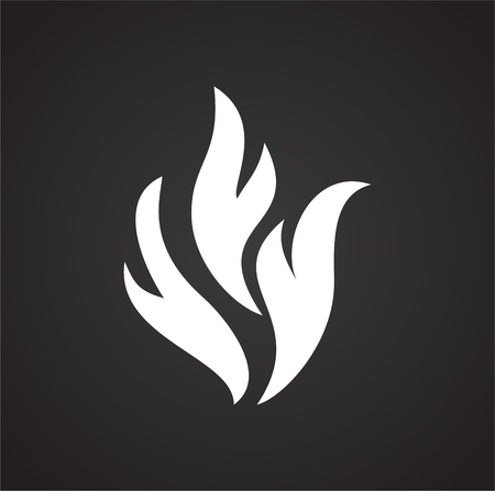Flame icon on black background for graphic and web design, Modern simple vector sign. Internet concept. Trendy symbol for website design web button or mobile app