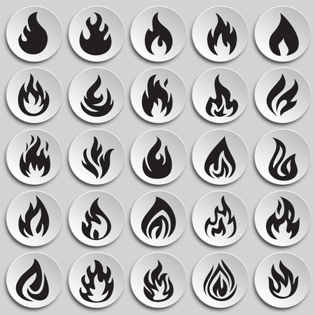 Flame icon set on plates background for graphic and web design, Modern simple vector sign. Internet concept. Trendy symbol for website design web button or mobile app