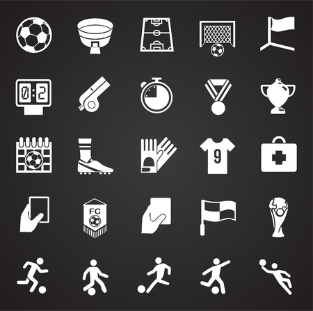 Soccer icons set on black background for graphic and web design, Modern simple vector sign. Internet concept. Trendy symbol for website design web button or mobile app