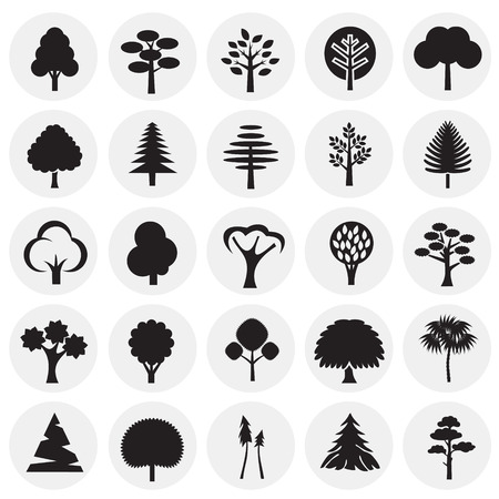Trees icon set on circles background for graphic and web design, Modern simple vector sign. Internet concept. Trendy symbol for website design web button or mobile app Illustration