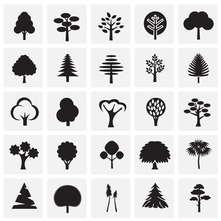 Trees icon set on squares background for graphic and web design, Modern simple vector sign. Internet concept. Trendy symbol for website design web button or mobile app