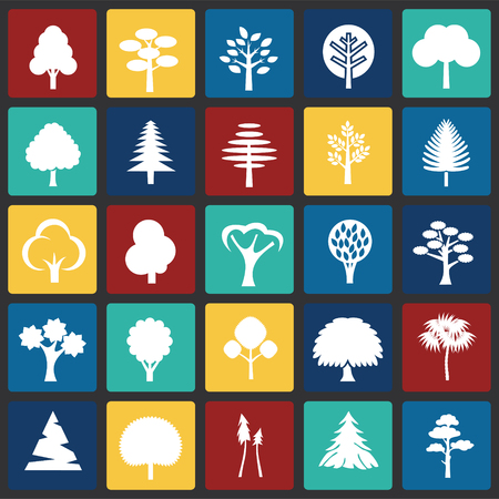 Trees icon set on color squares background for graphic and web design, Modern simple vector sign. Internet concept. Trendy symbol for website design web button or mobile app