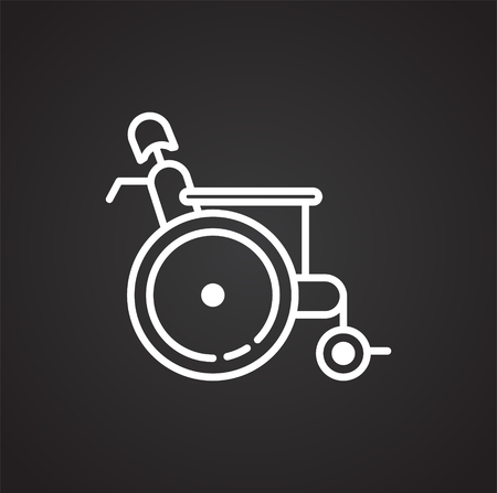Wheelchair icon on black background for graphic and web design, Modern simple vector sign. Internet concept. Trendy symbol for website design web button or mobile app