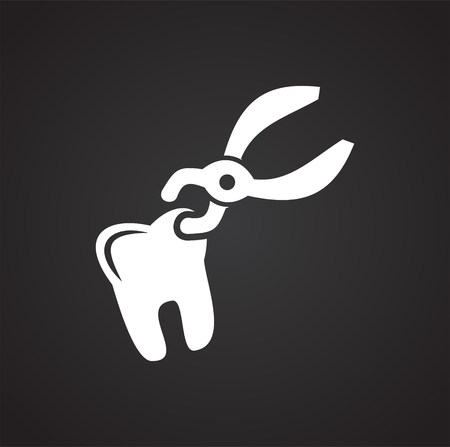 Dental icon on black background for graphic and web design, Modern simple vector sign. Internet concept. Trendy symbol for website design web button or mobile app