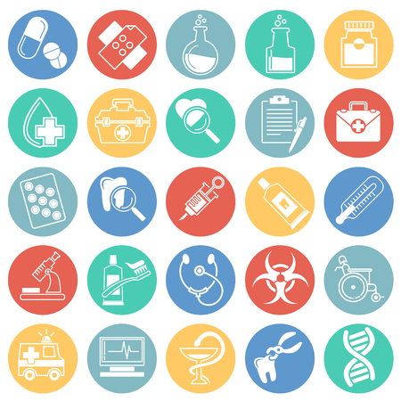 Medical icons set on color circles background for graphic and web design, Modern simple vector sign. Internet concept. Trendy symbol for website design web button or mobile app