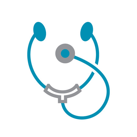 Stetoscope icon grey and blue on white background for graphic and web design, Modern simple vector sign. Internet concept. Trendy symbol for website design web button or mobile app