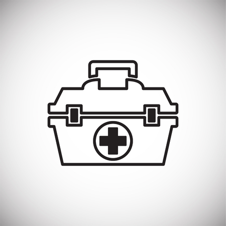 First aid kit icon on white background for graphic and web design, Modern simple vector sign. Internet concept. Trendy symbol for website design web button or mobile app Banco de Imagens