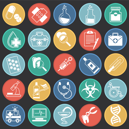 Medical icons set on color circles black background for graphic and web design, Modern simple vector sign. Internet concept. Trendy symbol for website design web button or mobile app