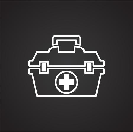 First aid kit icon on black background for graphic and web design, Modern simple vector sign. Internet concept. Trendy symbol for website design web button or mobile app Ilustração