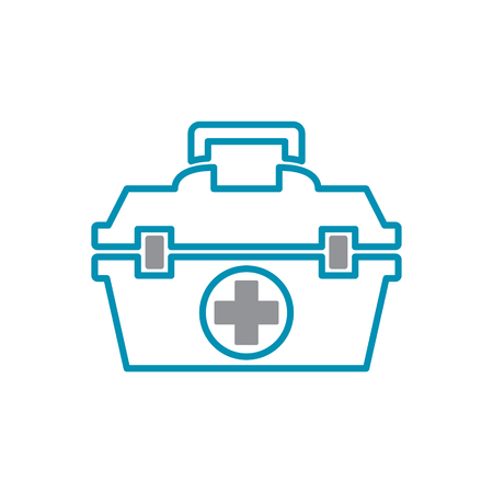 First aid kit icon grey and blue on white background for graphic and web design, Modern simple vector sign. Internet concept. Trendy symbol for website design web button or mobile app