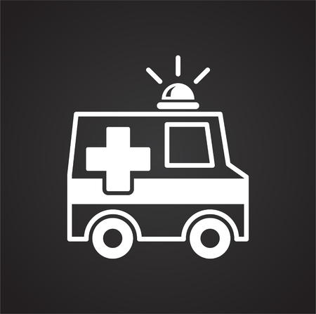 Emergency truck icon on black background for graphic and web design, Modern simple vector sign. Internet concept. Trendy symbol for website design web button or mobile app