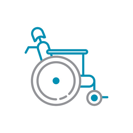 Wheelchair icon grey and blue on white background for graphic and web design, Modern simple vector sign. Internet concept. Trendy symbol for website design web button or mobile app