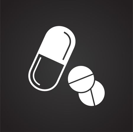 Pills icon on black background for graphic and web design, Modern simple vector sign. Internet concept. Trendy symbol for website design web button or mobile app Illustration