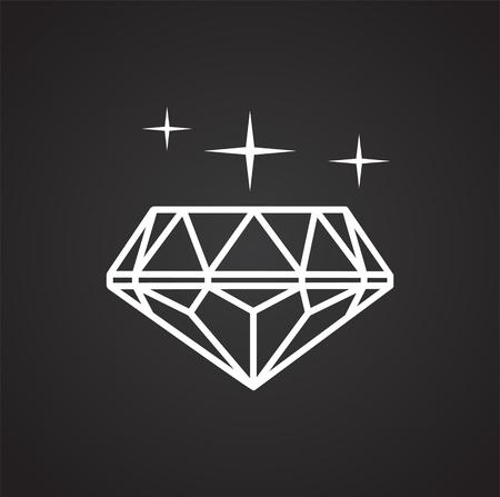 Gem icon on black background for graphic and web design, Modern simple vector sign. Internet concept. Trendy symbol for website design web button or mobile app