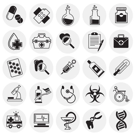 Medical icons set on circles background for graphic and web design, Modern simple vector sign. Internet concept. Trendy symbol for website design web button or mobile app