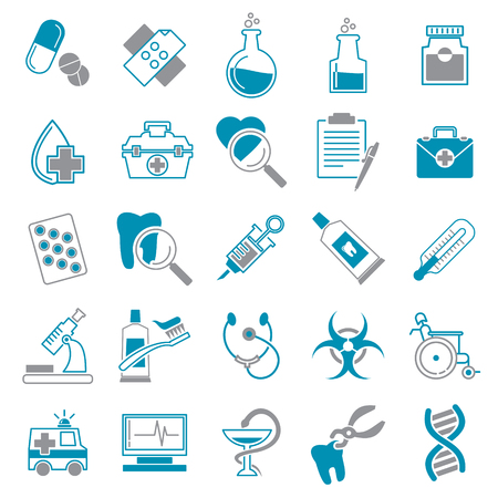 Medical icons set grey and blue on white background for graphic and web design, Modern simple vector sign. Internet concept. Trendy symbol for website design web button or mobile app