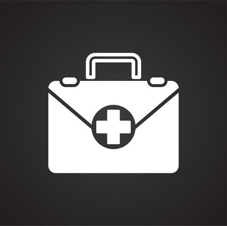 First aid kit icon on black background for graphic and web design, Modern simple vector sign. Internet concept. Trendy symbol for website design web button or mobile app Imagens