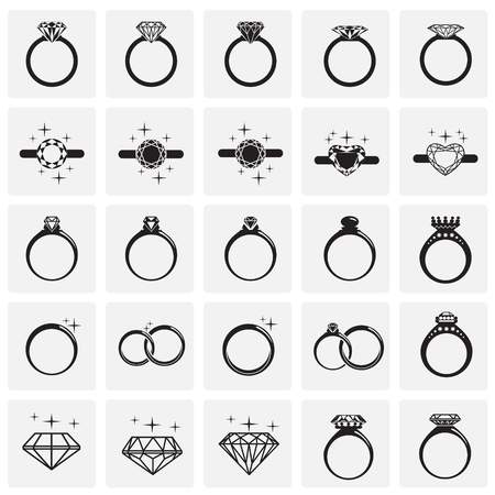 Rings icon set on squares background for graphic and web design, Modern simple vector sign. Internet concept. Trendy symbol for website design web button or mobile app