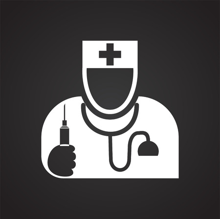 Doctor icon on black background for graphic and web design, Modern simple vector sign. Internet concept. Trendy symbol for website design web button or mobile