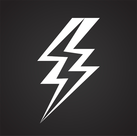 Lightning icon on black background for graphic and web design, Modern simple vector sign. Internet concept. Trendy symbol for website design web button or mobile