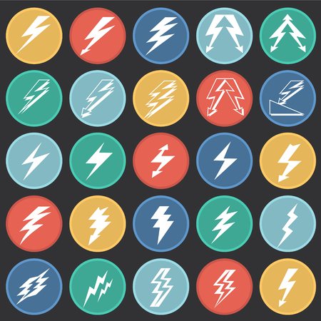 Lightning icon set on color circles black background for graphic and web design, Modern simple vector sign. Internet concept. Trendy symbol for website design web button or mobile